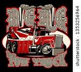 cartoon big rig tow truck with... | Shutterstock .eps vector #1353256964