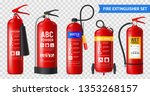 realistic fire extinguisher set ... | Shutterstock .eps vector #1353268157