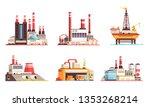 industrial buildings flat set... | Shutterstock .eps vector #1353268214