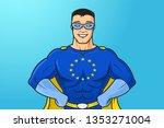 eu  european union masked... | Shutterstock .eps vector #1353271004
