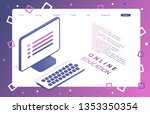 landing page template of online ... | Shutterstock .eps vector #1353350354