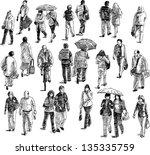 walking people | Shutterstock .eps vector #135335759