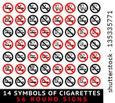 13 symbols of cigarettes  52... | Shutterstock .eps vector #135335771
