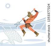 warrior retiarius gladiator in... | Shutterstock .eps vector #1353377324