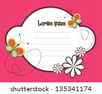 floral frame with butterfly   Shutterstock .eps vector #135341174