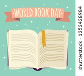 world book day  open book with... | Shutterstock .eps vector #1353428984