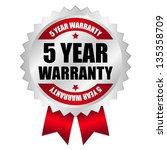 5 year warranty seal red | Shutterstock .eps vector #135358709