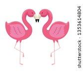 elegant flamingos birds couple | Shutterstock .eps vector #1353614804