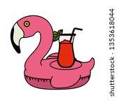 elegant flamingo bird float... | Shutterstock .eps vector #1353618044