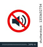 speaker with probition sign ... | Shutterstock .eps vector #1353652754