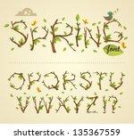 spring alphabet   Shutterstock .eps vector #135367559