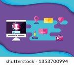 computer desktop with social...