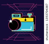 photographic camera of nineties ... | Shutterstock .eps vector #1353704387