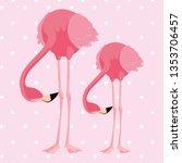 elegant flamingo birds couple... | Shutterstock .eps vector #1353706457