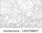 coloring book landscape. hand... | Shutterstock .eps vector #1353708827