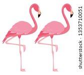 elegant flamingo birds couple | Shutterstock .eps vector #1353710051
