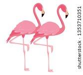 elegant flamingo birds couple | Shutterstock .eps vector #1353710351