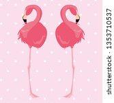 elegant flamingo birds couple... | Shutterstock .eps vector #1353710537