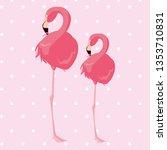 elegant flamingo birds couple... | Shutterstock .eps vector #1353710831