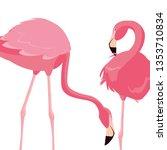 elegant flamingo birds couple | Shutterstock .eps vector #1353710834