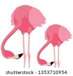elegant flamingo birds couple | Shutterstock .eps vector #1353710954