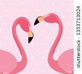 elegant flamingo birds couple... | Shutterstock .eps vector #1353713024