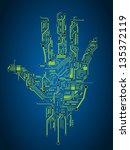 circuit abstract hand vector... | Shutterstock .eps vector #135372119