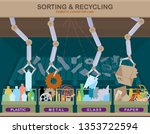 waste recycling plant with... | Shutterstock .eps vector #1353722594