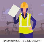 oil industry female worker... | Shutterstock .eps vector #1353739694