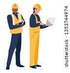 couple of men builders working | Shutterstock .eps vector #1353744974
