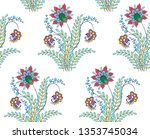 seamless pattern mughal floral... | Shutterstock .eps vector #1353745034