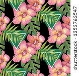 summer tropical flowers... | Shutterstock . vector #1353763547