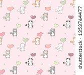 seamless pattern of cute... | Shutterstock .eps vector #1353764477