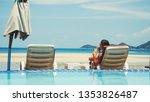beautiful young woman relaxes... | Shutterstock . vector #1353826487