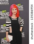 Small photo of Singer Hayley Williams of Paramore at the 2013 MTV Movie Awards at Sony Studios, Culver City. April 14, 2013 Los Angeles, CA Picture: Paul Smith