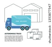 self driving truck and... | Shutterstock . vector #1353877547