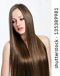 beautiful girl. healthy long... | Shutterstock . vector #135389981