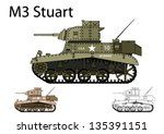 american ww2 m3 stuart light... | Shutterstock .eps vector #135391151