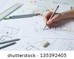 interior designer works on a...   Shutterstock . vector #135392405