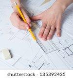 interior designer works on a... | Shutterstock . vector #135392435