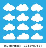 cloud icon on blue background.... | Shutterstock .eps vector #1353957584