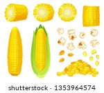 cartoon corn. golden maize... | Shutterstock .eps vector #1353964574