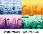 industrial factory silhouette.... | Shutterstock .eps vector #1353964631