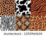 animal skins pattern. leopard... | Shutterstock .eps vector #1353964634
