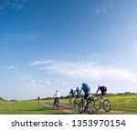 mixed group of cyclists biking... | Shutterstock . vector #1353970154