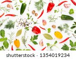 spice herbal leaves and chili...   Shutterstock . vector #1354019234