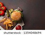 homemade hamburger with... | Shutterstock . vector #1354048694