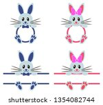 bunny with monograms for easter | Shutterstock .eps vector #1354082744