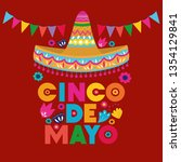cinco de mayo card with flowers ... | Shutterstock .eps vector #1354129841