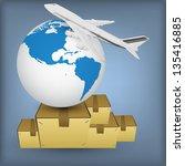 airline transport for shipping... | Shutterstock .eps vector #135416885